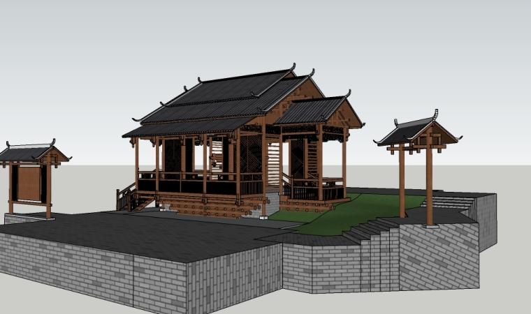 景观中式休息亭子su模型