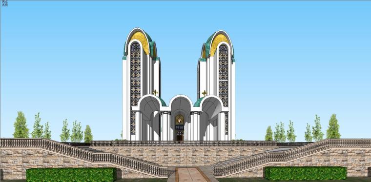 欧陆风格教堂建筑模型设计