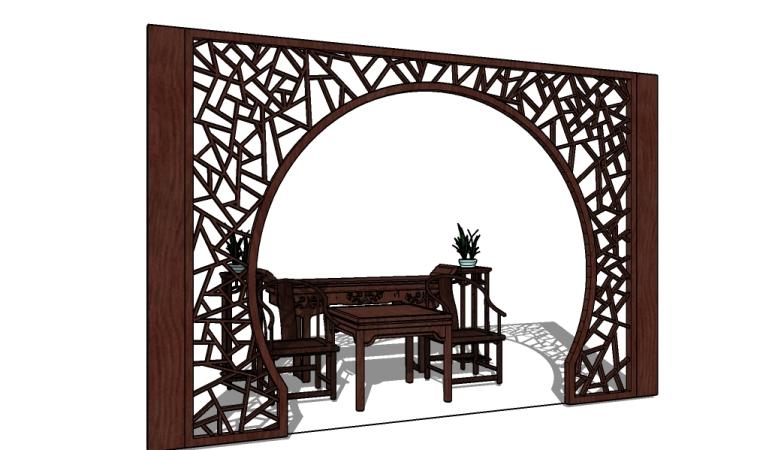 景观屏风拱门su模型