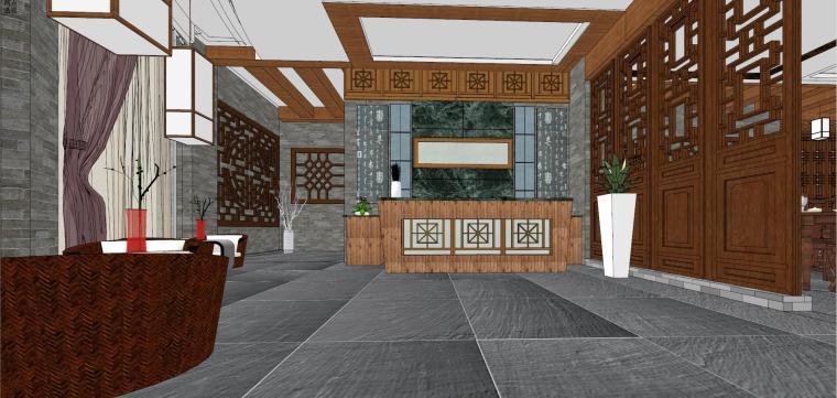 中式风格中式餐馆室内模型设计