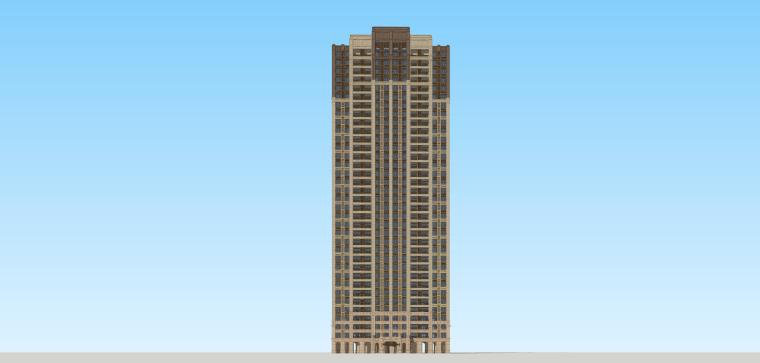 欧陆风格高层住宅建筑模型设计