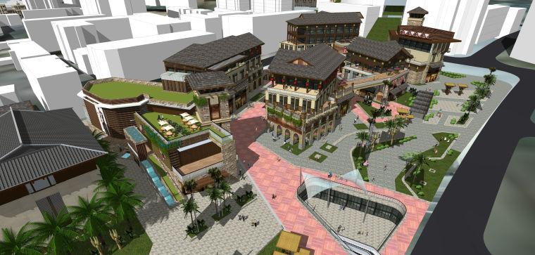 东南亚风格热带风情街建筑模型设计