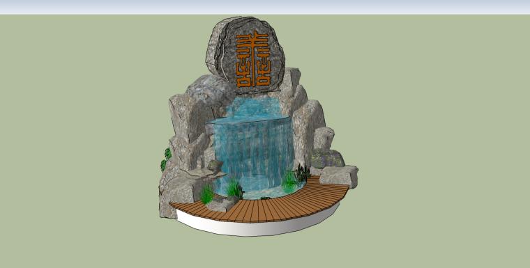 中式假山流水su模型