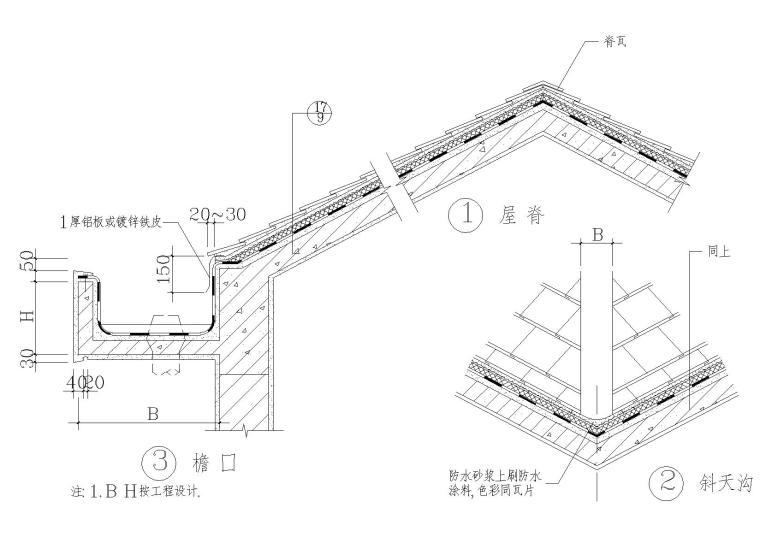 坡屋面建筑构造(屋脊脊瓦,玻纤瓦屋面等)