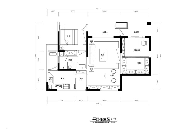现代风格两居室住宅装修施工图+效果图