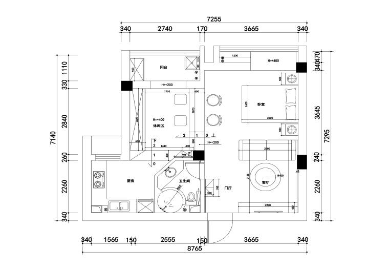 大华南湖公园世家一居室样板房装修施工图