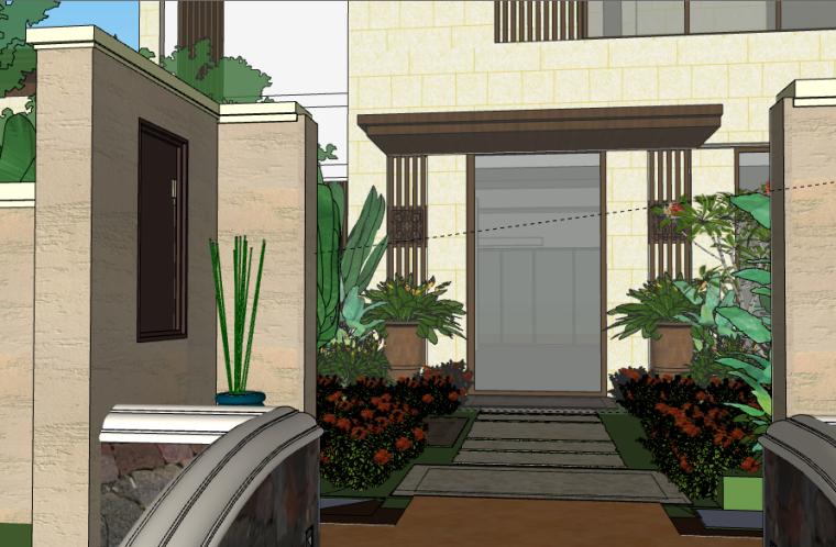 西双版纳万达文华度假酒店建筑SU模型(1)