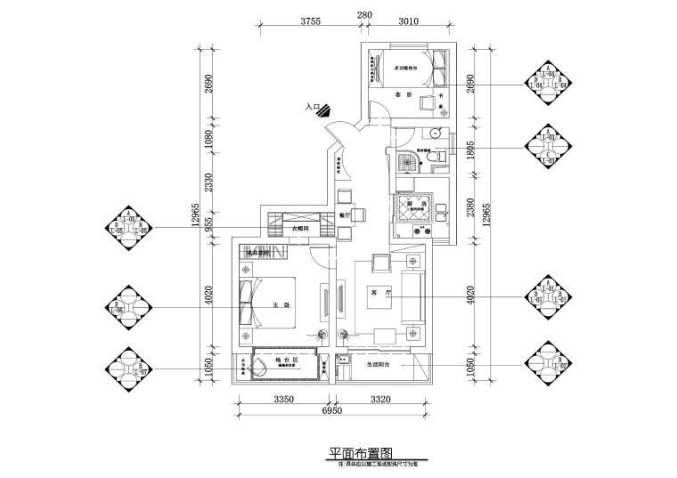 上海市浦东新区两居室住宅装修施工图