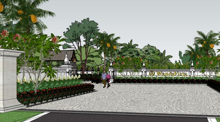 西双版纳万达文华度假酒店建筑SU模型(2)