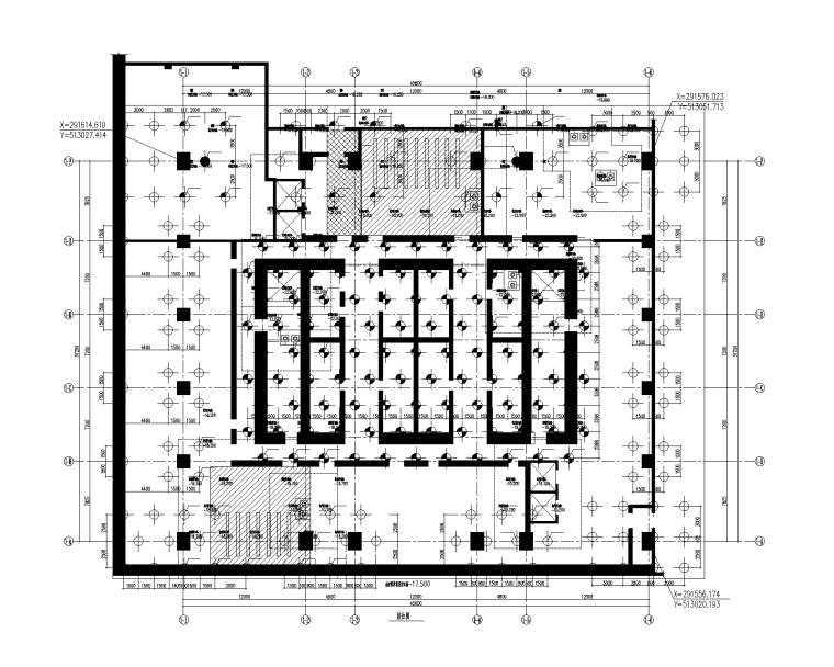 180m型钢砼框架-砼核心筒办公楼建筑结构图