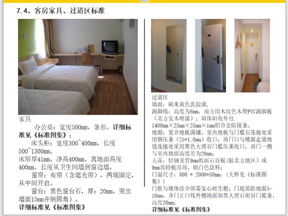 客房家具、过道区标准