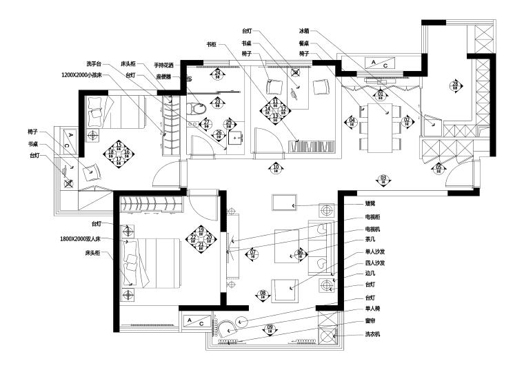 苏州97平美式风格私人住宅装修施工图