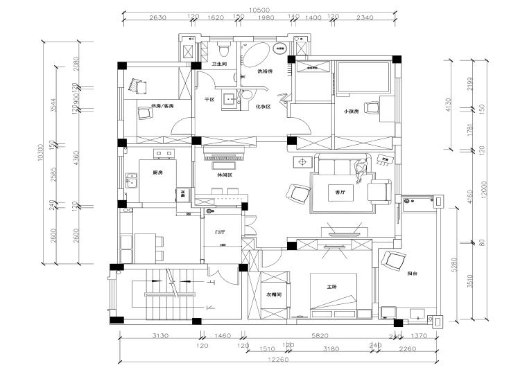 三居室田园风格住宅装修施工图+效果图