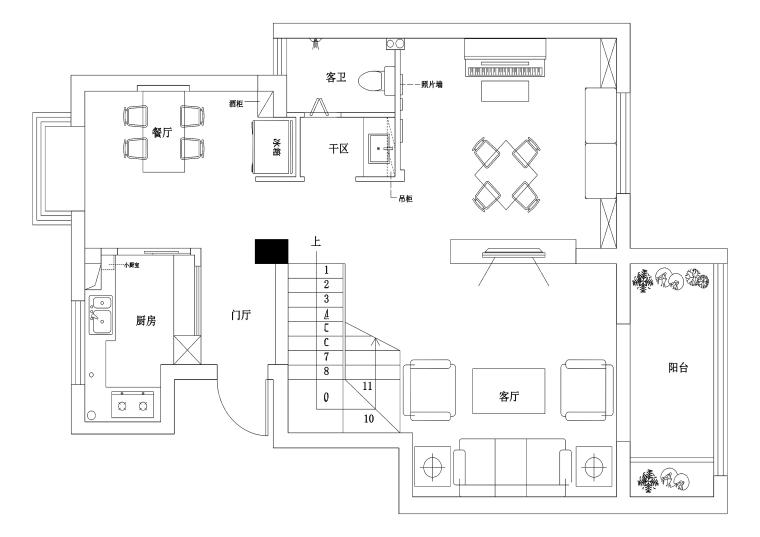 现代风格两居室私人住宅装修施工图+效果图
