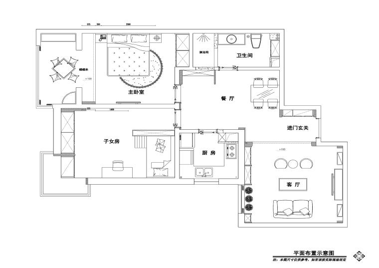 东南亚风格两居室住宅装修施工图+效果图