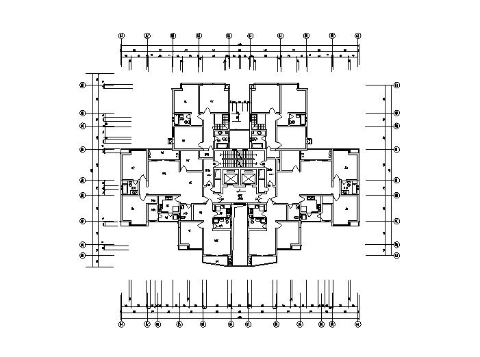 4栋24-30层高层住宅户型平面图(CAD)