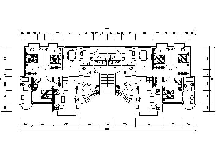 70种一梯两户户型平面图(CAD)