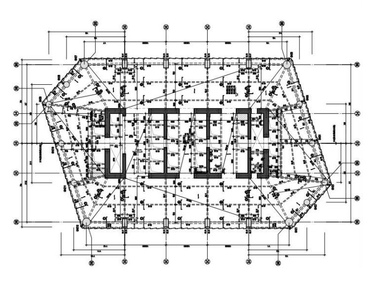 塔2八~十一层结构平面图