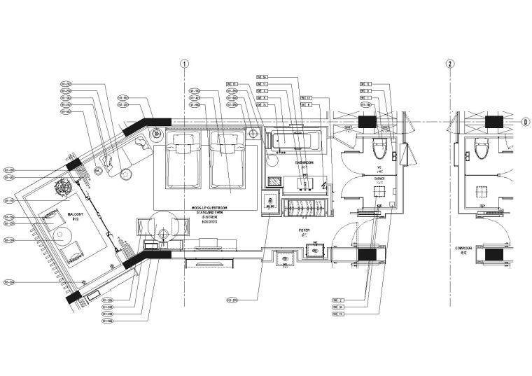 上海崇明金茂凯悦酒店客房施工图CAD+物料表