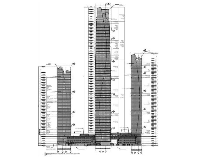 酒店办公商业大楼建筑立面图