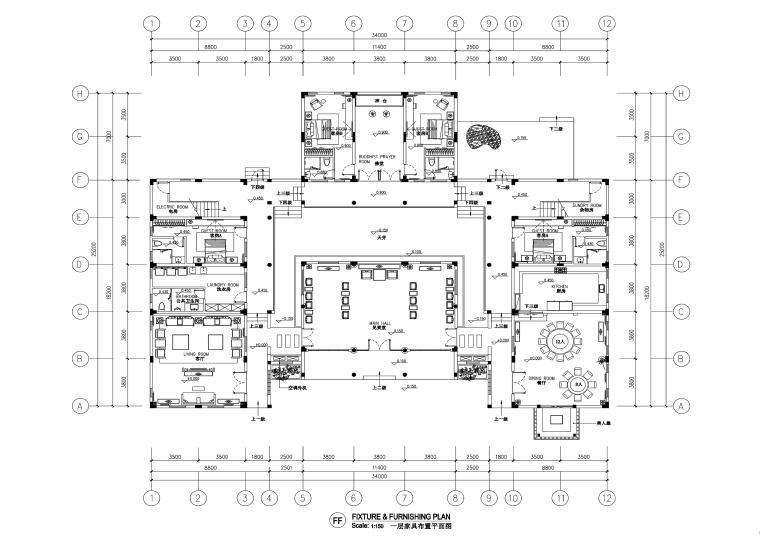 中式风格别墅室内装修施工图+效果图
