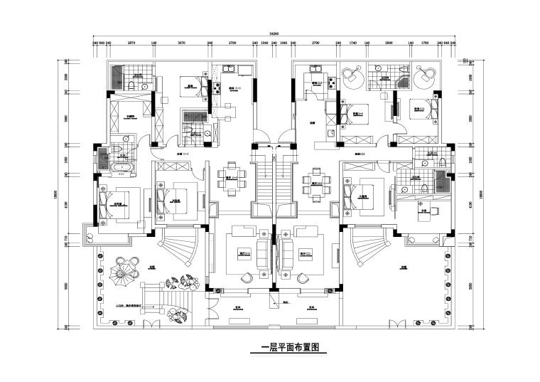 虞山尚园公寓室内装修施工图+效果图