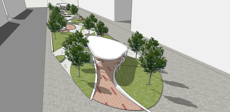 国外风格市政小公园SU模型