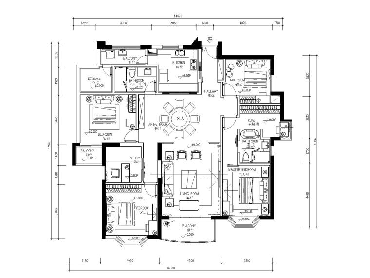 新中式风格三居室住宅装修施工图+效果图