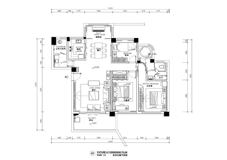 三居室新中式风格住宅装修施工图+效果图