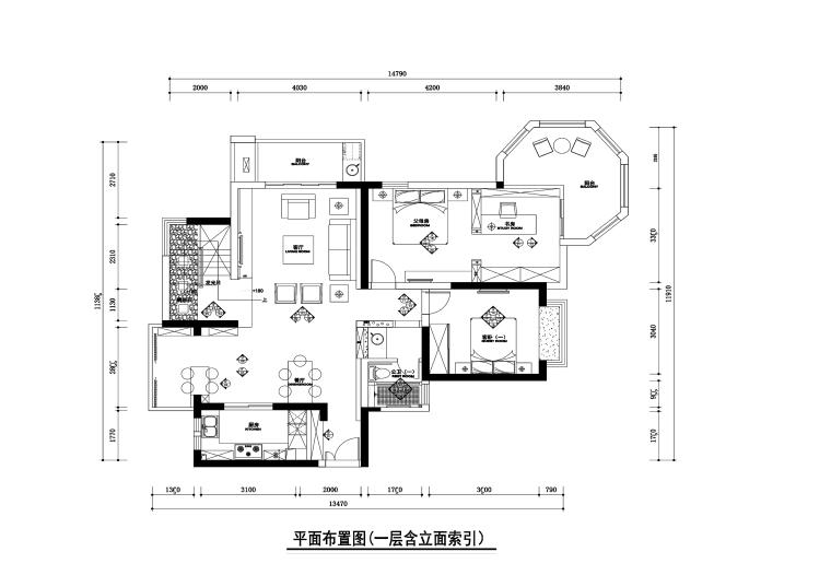 250平新中式风格复式住宅装修施工图+效果图