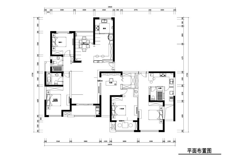 210平新中式风格住宅装修施工图+效果图
