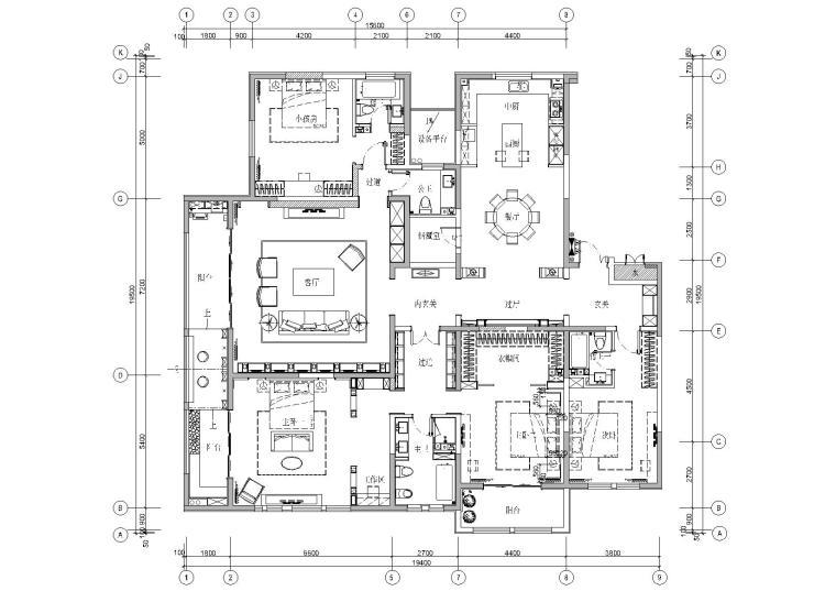 [济宁]聚舍-森泰御城上院中式样板房施工图