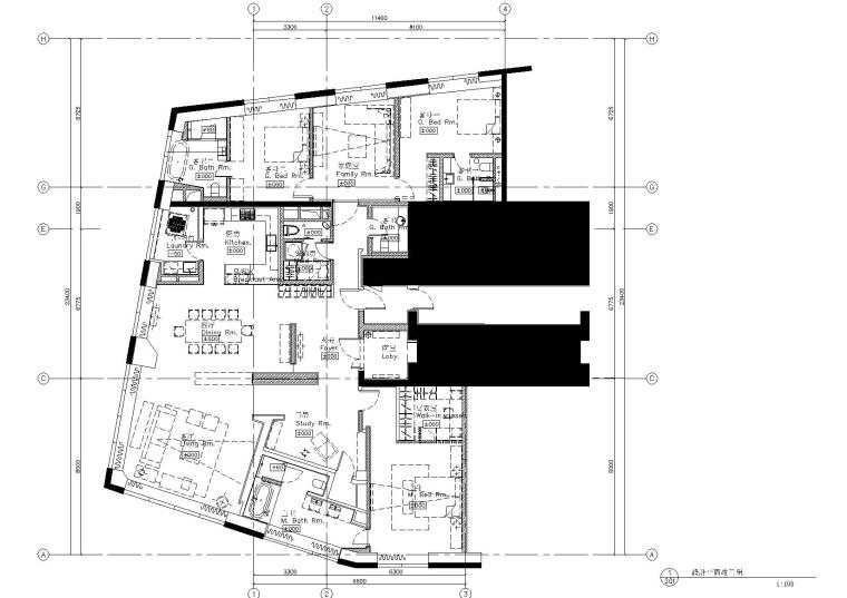 [青岛]-万邦中心A户型样板房CAD施工图