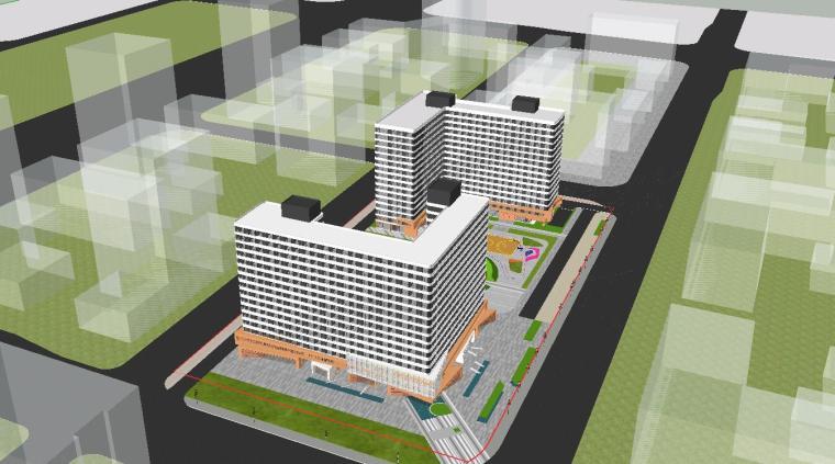 人才公寓建筑文本资料下载-现代风格青年人才公寓方案模型