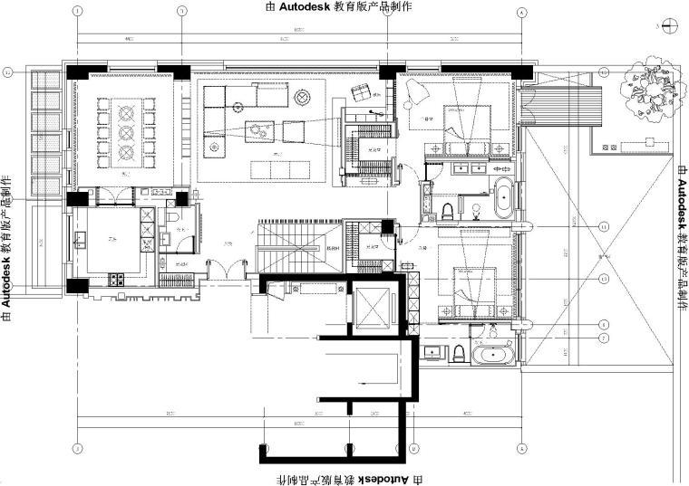 [北京]中赫万柳书院C2户型叠层样板房施工图