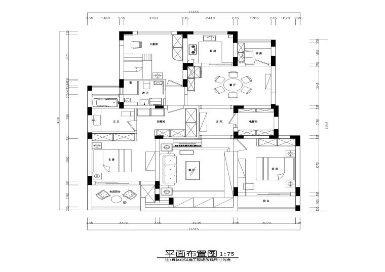 美式风格三居室住宅装修施工图+效果图