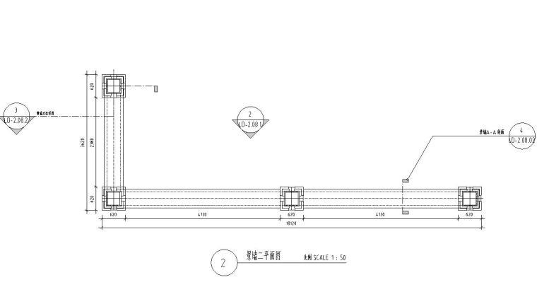 景观细部施工图|景观墙一详图设计