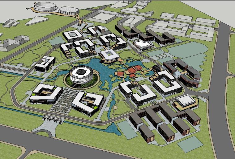 现代风格北化工新校区教学楼建筑模型设计