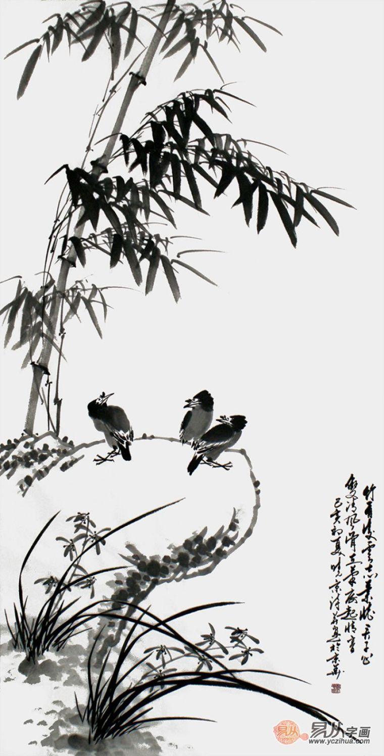 书法绘画:古典诗人郑晓京 写意兰竹双清图