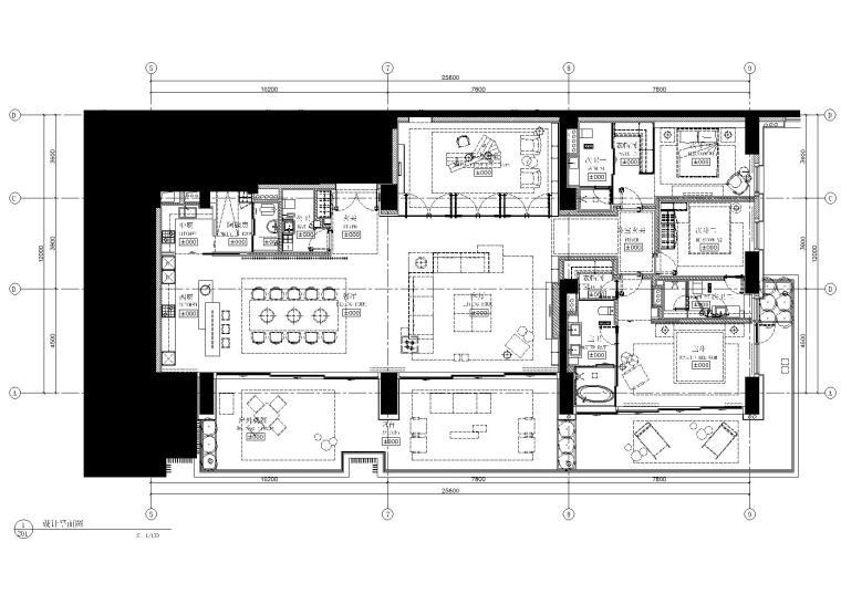 三亚海棠湾四季公寓标准层样板间一施工图