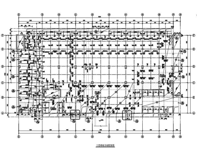 三层模板及板配筋图