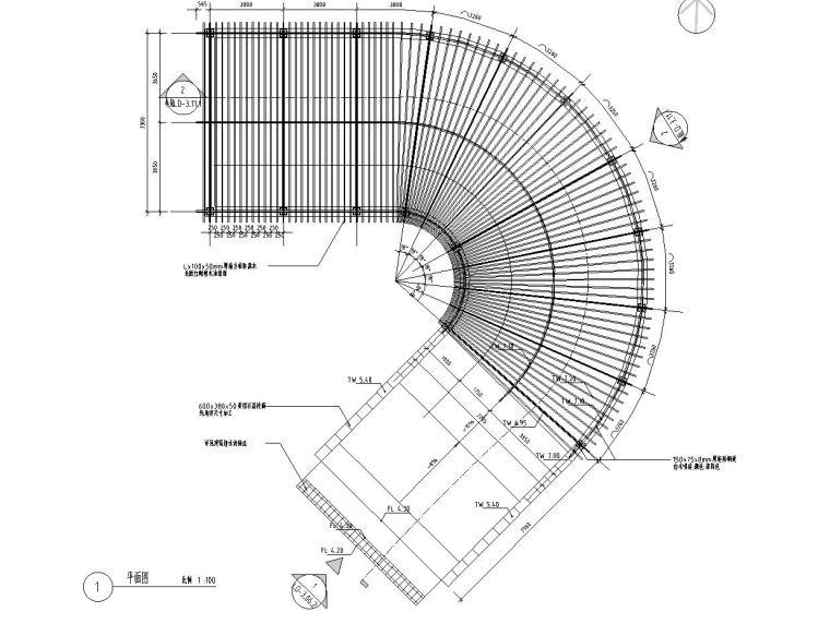 景观细部施工图|车库入口廊架四详图设计