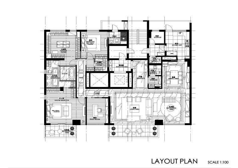 三居室欧式风格住宅装修施工图+效果图
