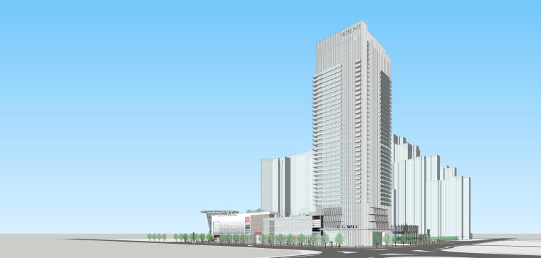 现代风格高层办公楼+裙房商业建筑设计