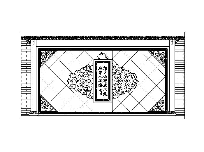 中式造型墙图块(CAD)