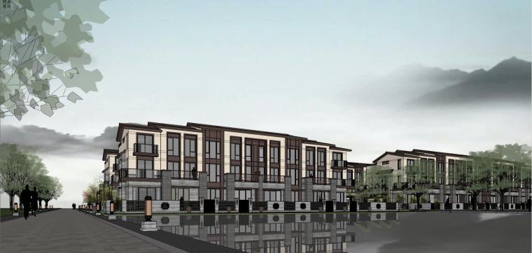 中式联排别墅建筑模型设计