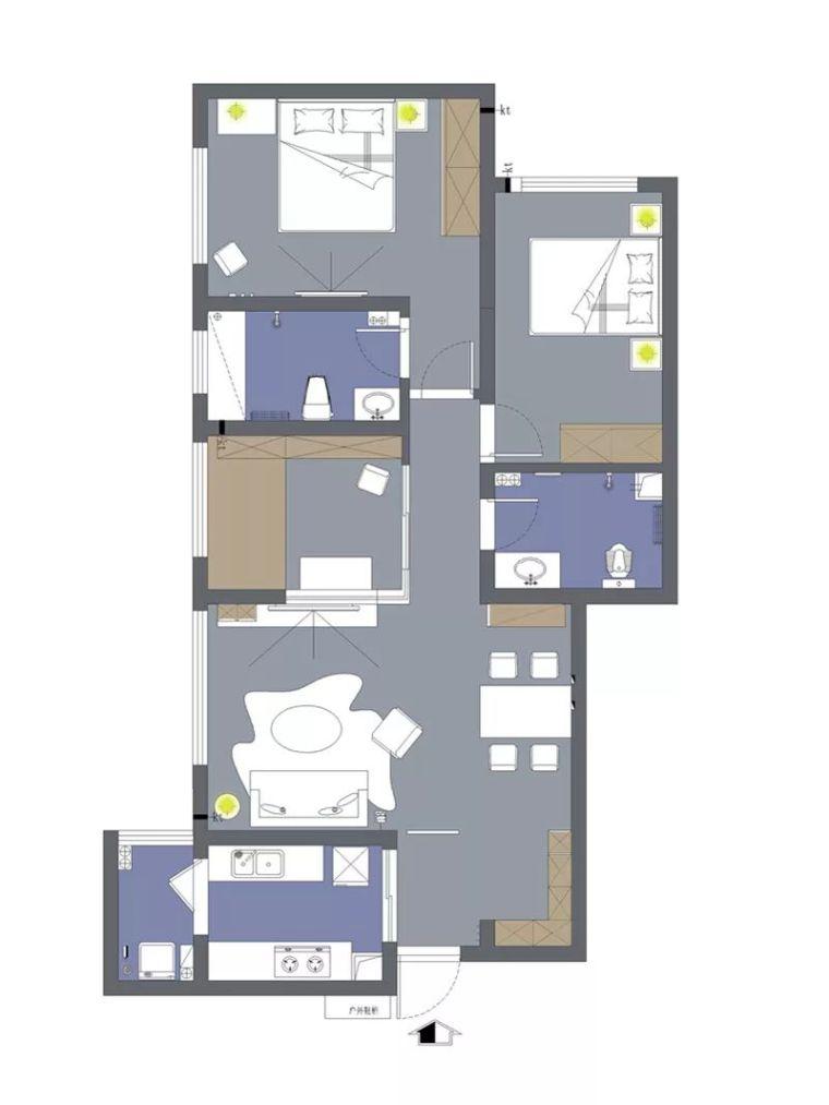 116平的现代风三居室,黑白灰的设计很有档