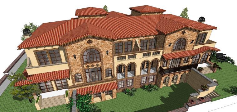 西班牙风格小双拼建筑模型设计