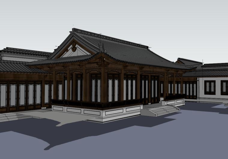 中式庭院仿古民居住宅小巷雕花廊su模型