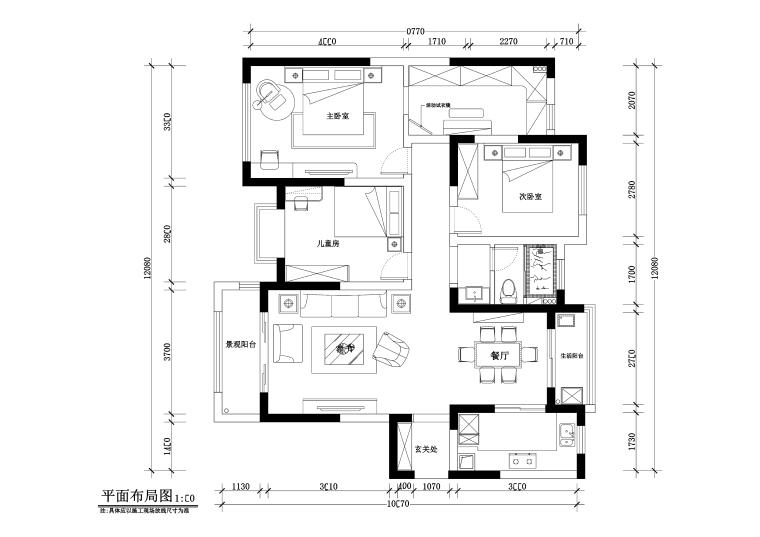 三居室美式风格住宅装修施工图+效果图